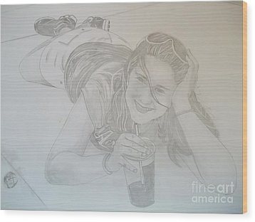 Wood Print featuring the drawing Bethany by Justin Moore