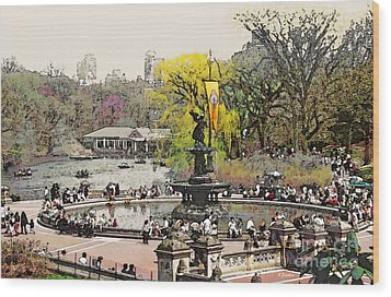 Bethesda Fountain Central Park Nyc Wood Print by Linda  Parker