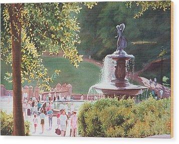 Bethesda Fountain Wood Print by Daniel Dayley