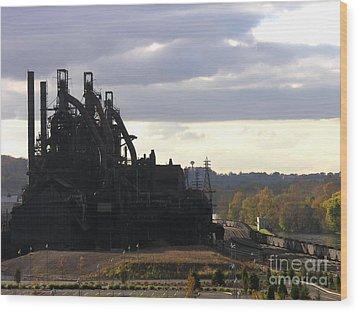 Bethlehem Steel On The Lehigh River Wood Print by Jacqueline M Lewis