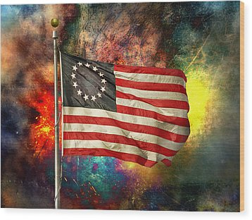 Betsy Ross Flag Wood Print by Steven  Michael