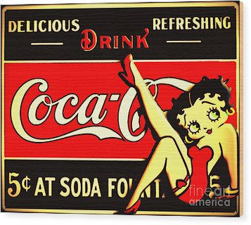 Betty Boop On Coke Wood Print
