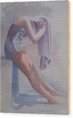 Wood Print featuring the painting Betty Heim At Forest Pool  by John  Svenson
