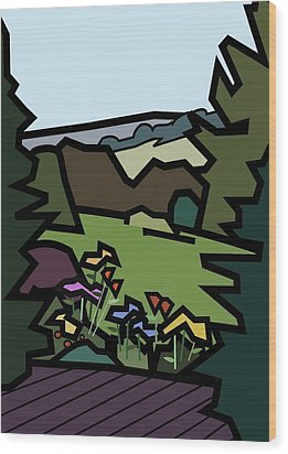 Betty's Garden Wood Print by Kenneth North