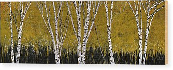 Betulle A Sfondo Giallo Wood Print by Guido Borelli