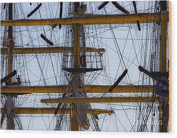 Between Masts And Ropes Wood Print by Edgar Laureano