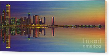 Wood Print featuring the photograph Between Night And Day Chicago Skyline Mirrored by Tom Jelen