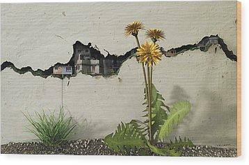 Between The Cracks Wood Print by Cynthia Decker