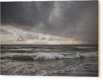 Beverly Beach Storm Wood Print by Maria Robinson