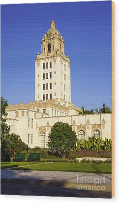 Beverly Hills Police Station Wood Print by Paul Velgos