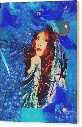Bewitched In Blue Wood Print by Alys Caviness-Gober