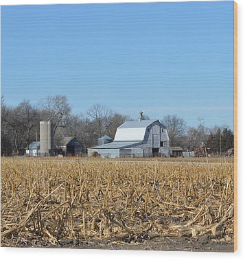 Beyond The Cornfield Wood Print by Renie Rutten