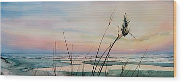 Beyond The Sand Wood Print by Hanne Lore Koehler