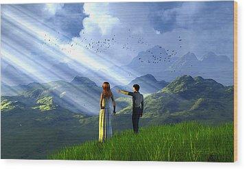 Beyond These Hills Wood Print by Dieter Carlton