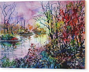 Beyond Tree And Pond Wood Print by Alfred Motzer