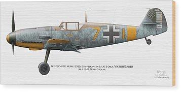 Bf 109f-4/r-1 W.nr.13325. Staffelkapitan 9./jg 3 Oblt. Viktor Bauer. July 1942. Nowy-cholan Wood Print by Vladimir Kamsky