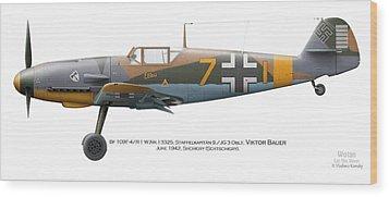 Bf 109f-4/r-1 W.nr.13325. Staffelkapitan 9./jg 3 Oblt. Viktor Bauer. June 1942. Shchigry Wood Print by Vladimir Kamsky