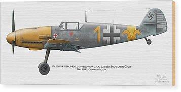 Bf 109f-4 W.nr.7420. Staffelkapitan 9./jg 52 Oblt. Hermann Graf. May 1942. Charkow-rogan. Wood Print by Vladimir Kamsky