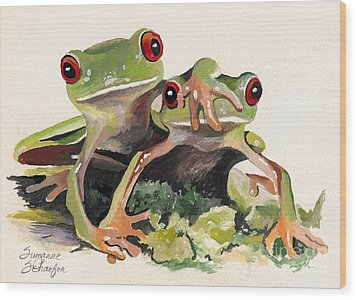 Bff Froggies Wood Print by Suzanne Schaefer