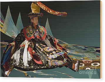 Wood Print featuring the digital art Bhutanese Dancer by Angelika Drake