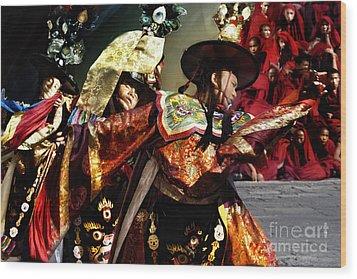 Wood Print featuring the digital art Bhutanese Dancers by Angelika Drake