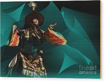 Wood Print featuring the digital art Bhutanese Festival by Angelika Drake