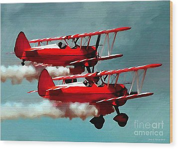 Bi-planes Wood Print by Jerry L Barrett