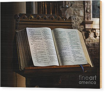 Bible Open On A Lectern Wood Print by Louise Heusinkveld