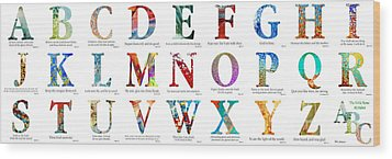 Bible Verse Alphabet Poster Wood Print by Mark Lawrence