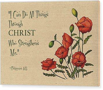 Bible Verse With Poppies Wood Print by Joyce Geleynse