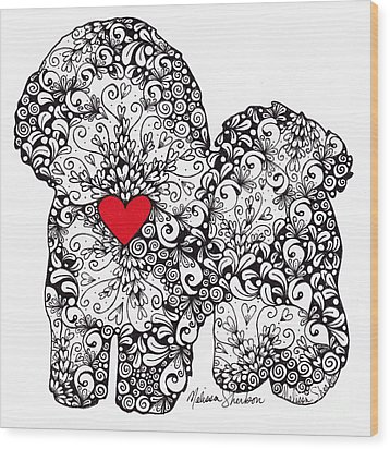 Wood Print featuring the drawing Bichon Frise by Melissa Sherbon