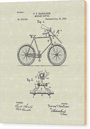 Bicycle 1896 Patent Art Wood Print by Prior Art Design