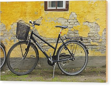 Bicycle Aarhus Denmark Wood Print by John Jacquemain