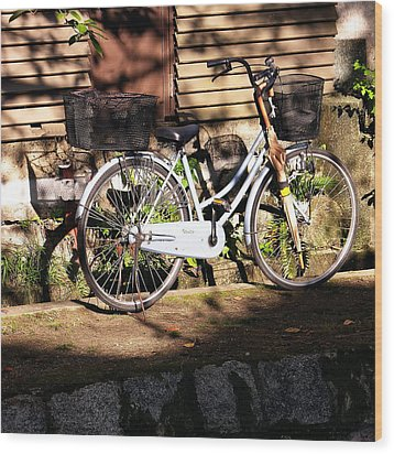 Wood Print featuring the photograph Bicycle And Baskets Kyoto - Philosophers' Walk by Jacqueline M Lewis