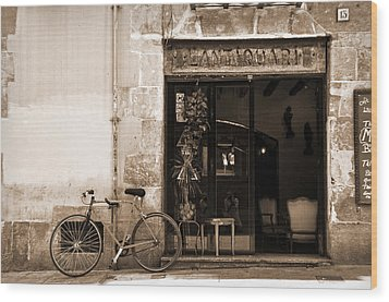 Bicycle And Reflections At L'antiquari Bar  Wood Print by RicardMN Photography