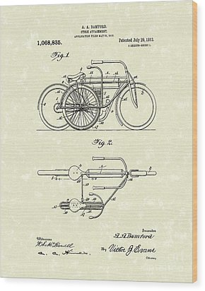 Bicycle Attachment 1913 Patent Art Wood Print by Prior Art Design