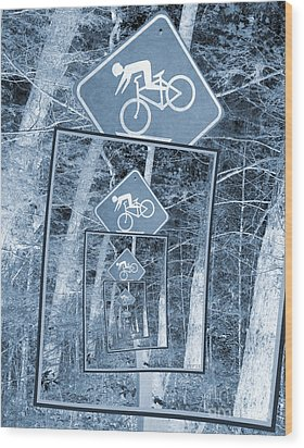 Bicycle Caution Traffic Sign Wood Print