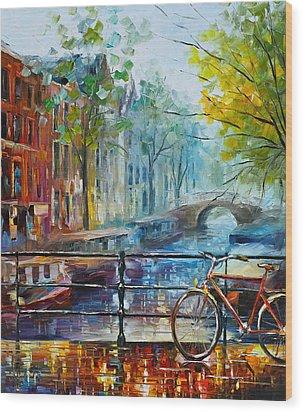 Bicycle In Amsterdam Wood Print by Leonid Afremov