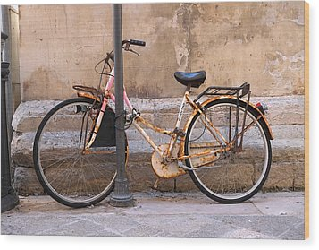 Bicycle Lecce Italy Wood Print by John Jacquemain