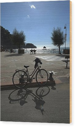 Bicycle Monterosso Italy Wood Print by John Jacquemain
