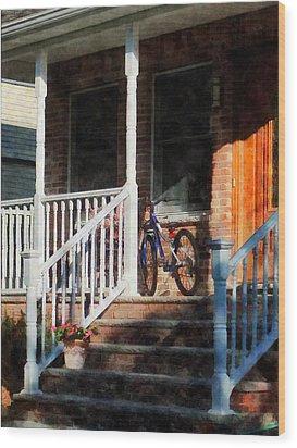 Bicycle On Porch Wood Print by Susan Savad