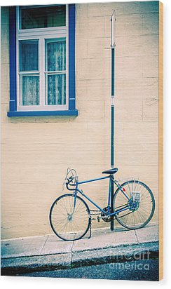 Bicycle On The Streets Of Old Quebec City Wood Print by Edward Fielding