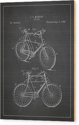 Bicycle Patent Wood Print by Aged Pixel