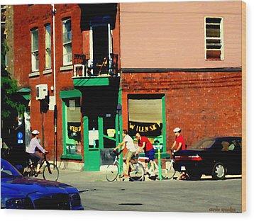 Bicycle Path At Wilenskys Diner Rue Fairmount And Clark Montreal Cafe Street Scene Carole Spandau Wood Print by Carole Spandau