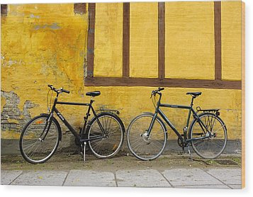 Bicycles Aarhus Denmark Wood Print by John Jacquemain