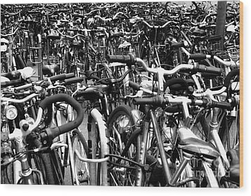Wood Print featuring the photograph Sea Of Bicycles- Karlsruhe Germany by Joey Agbayani