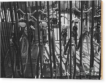 Wood Print featuring the photograph Bicycles by Maja Sokolowska