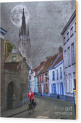 Bicycling Through Bruges Wood Print by Juli Scalzi