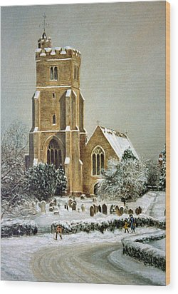 Wood Print featuring the painting Biddenden Church by Rosemary Colyer