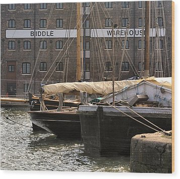 Wood Print featuring the digital art Biddle Warehouse by Ron Harpham
